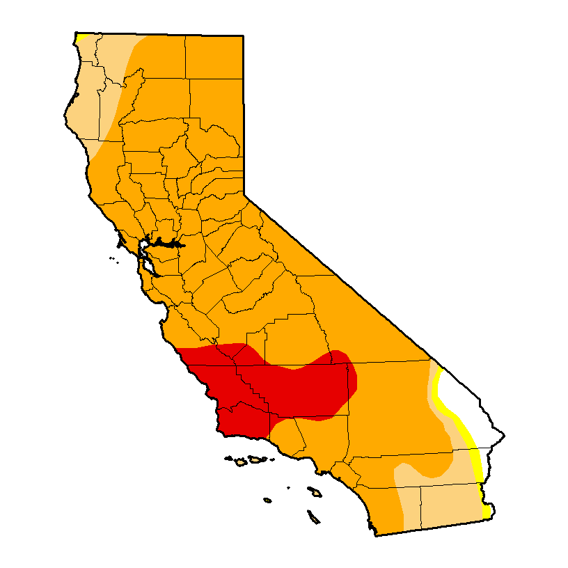 The latest Drought Monitor update indicates that over 84% of California is currently experiencing severe to extreme drought. (NDMC-UNL/USDA/NOAA)