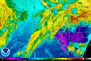 Current infrared satellite imagery depicting clouds streaming into Northern California from the southwest in advance of a weak cold front. NOAA/SSD.
