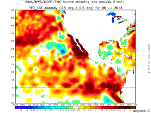 Large positive SST anomalies exist along the Southern California coast. (NOAA)