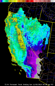 Substantial precipitation totals are expected throughout most of California through Sunday. (NWS/CNRFC)