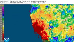 Most of California has experienced below-average precipitation over the past 60 days, though the North Coast has seen much above-average rainfall. (NOAA/NWS)