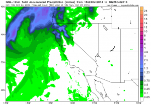 The NAM brings a couple of inches of precip to far NorCal this weekend, and more modest amounts south to the Bay Area. (NCEP via tropicaltidbits.com)