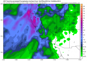 The GFS still suggests that heavy precipitation will occur this week over much of California (NCEP via tropicaltidbits.com).