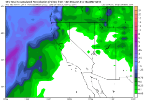 The latest GFS suggests mostly dry conditions continuing for the next 7-10 days except for modest rainfall along the North Coast. (NCEP via tropicaltidbits.com)