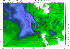 Numerical models are in agreement that substantial precipitation will fall across most of California this week. (NCEP via Levi Cowan)
