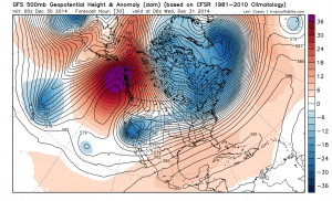 "The current setup over the Eastern Pacific depicts a classic ""Omega Blocking"" regime, with a strong ridge over the Gulf of Alaska. (NCEP via Levi Cowan)"