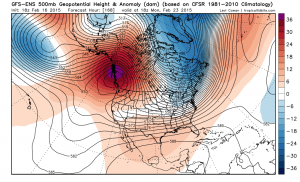 The GFS suggests that our recent episode of high-amplitude flow over North America will continue for at least 7-10 days. (NCEP via Levi Cowan)