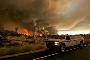 Numerous apocalyptic images have come out of the Rocky Fire in Lake County, which continues to burn largely uncontrolled near Clearlake. (Photo by Peter Armstrong)