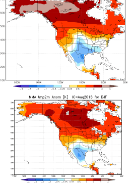 Side-by-side comparison of national vs. international multi-model ensemble forecast for winter 2015-2016. Both suggest above-average precipitation in California. (NOAA CPC)