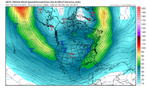 The GFS ensemble outlook as of mid-November shows a strengthening zonal jet over the Pacific, characteristic of a strong El Niño. (NCEP via tropicalditbits.com)