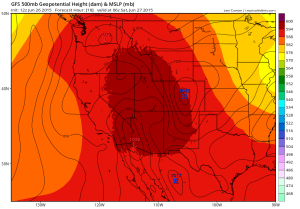 A massive, persistent ridge will dominate the pattern over the West for the foreseeable future. (NCEP via Levi Cowan)