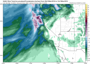 Very heavy precipitation is once again expected in Northern California over the next few days. (NCEP via tropicaltidbits.com)