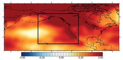 Map depicting the contribution of Oct-May temperature changes in the lower half of the atmosphere to changes in middle atmospheric pressure (500 mb geopotential heights). Red and orange shades show where thermal expansion due to warming have caused middle atmospheric pressure increases (meters/year). Adapted from Swain et al. 2016, Science Advances.