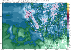 All of California is expected to receive a soaking rain this weekend, and some spots could see rather heavy rainfall. (NCEP via tropicaltidbits.com)