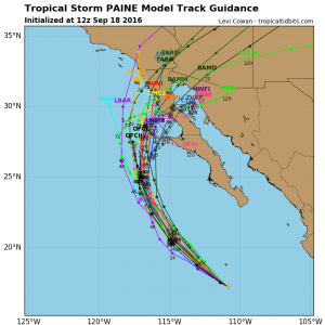 Model forecasts show the remnant circulation from TS Paine moving toward Southern California later this week. (NCEP/NHC via tropicaltidbits.com)