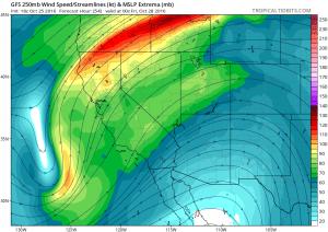 The Thursday storm has unusually southerly origins. (NCEP via tropicaltidbits.com)