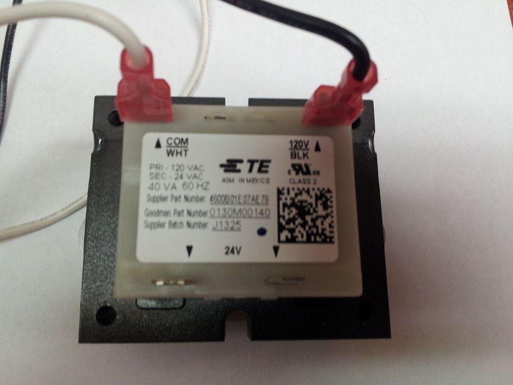 medium resolution of goodman 0130m00140 120v to 24v 40va transformer b1141605 oem warranty