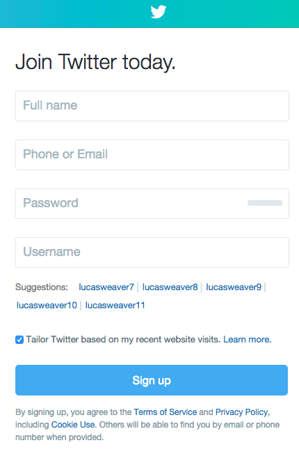 step two of signing up for a twitter profile set up