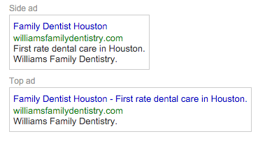 Google AdWords PPC Text Ad for new patients for Dentists