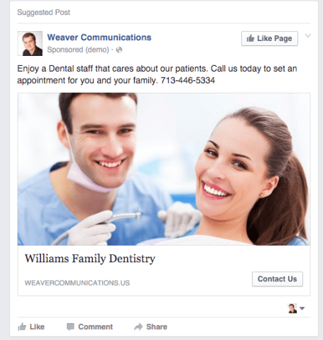 Sample Dental Facebook Ad new patients for dentists