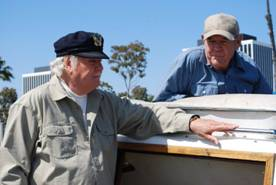 James Best and Rick Hurst on location for Return of the Killer Shrews.