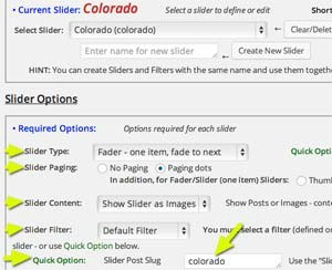 Required Slider Options