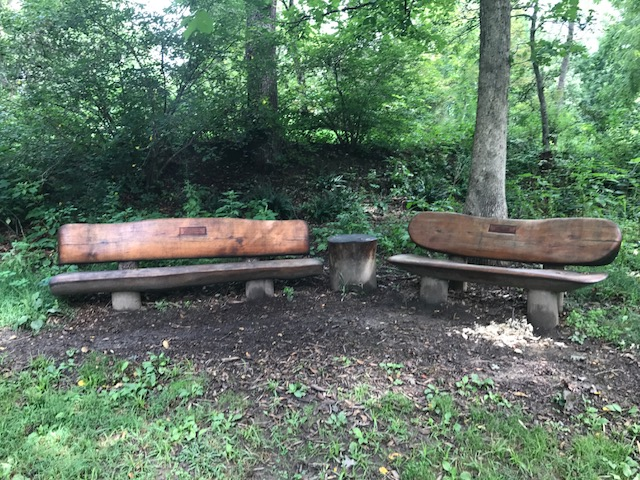 Wooden Park Benches at the Main Street Nature Park