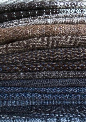 Blue-brown blanket stack vertical small