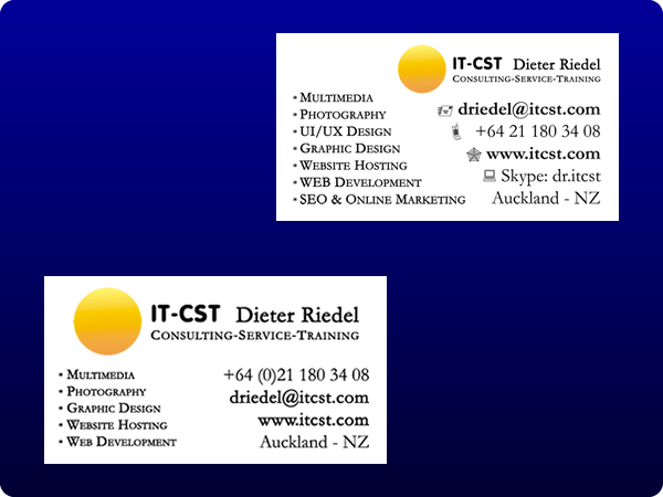 Actual and previous Web & Design Boutique business cards;