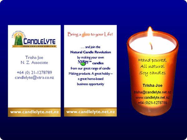 Candlelyte business card created using a photograph, logos and graphics;