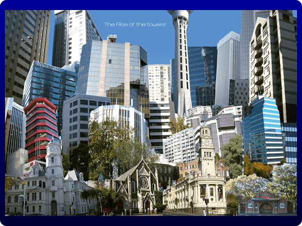 This photo collage 'The rise of the towers' was a Natcoll project which should have something to do with Auckland;