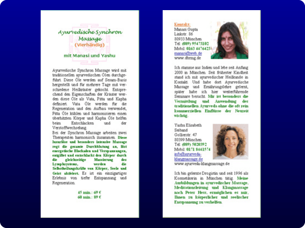 A4 Bollywood dance and massage flyer two sided;
