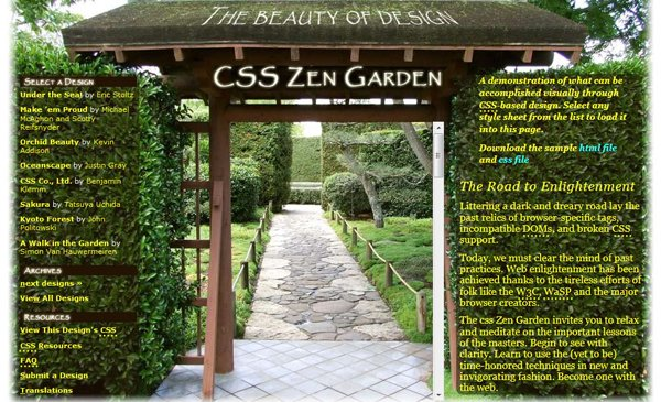 CSS Zen GardenHome page w/o content