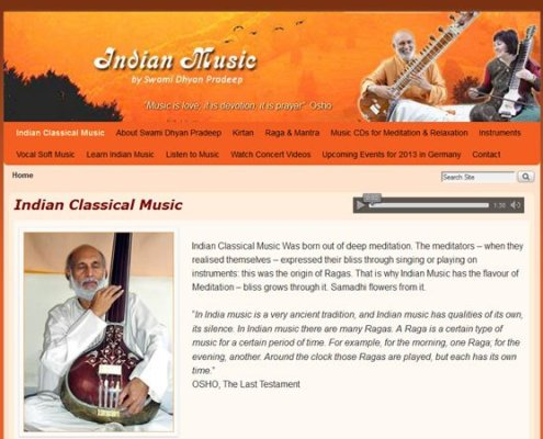 Indian Music - The present Home page with header logo and dynamic three state header navigation;