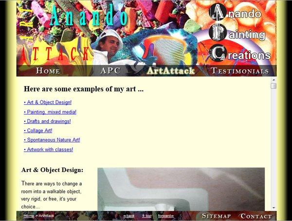 Anando ArtAttack ArtAttack page displaying art work;