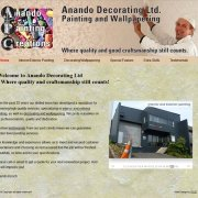Anando Decorating Home page with header logo and dynamic three state header navigation shows various projects as a slide-show;
