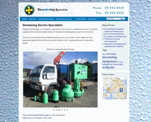 Dewatering Specialists Home page with header logo and dynamic three state header navigation showing various projects as a slide-show;