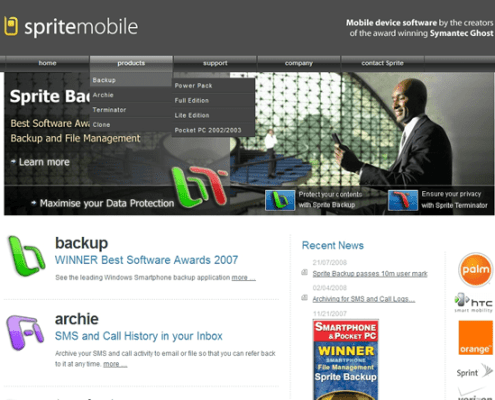 spritemobile Original home page with logo and header animation, with dynamic three state navigation menu;