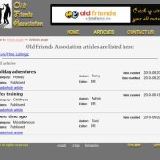 Old Friend's Association Articles page listing all the uploaded PDF files;