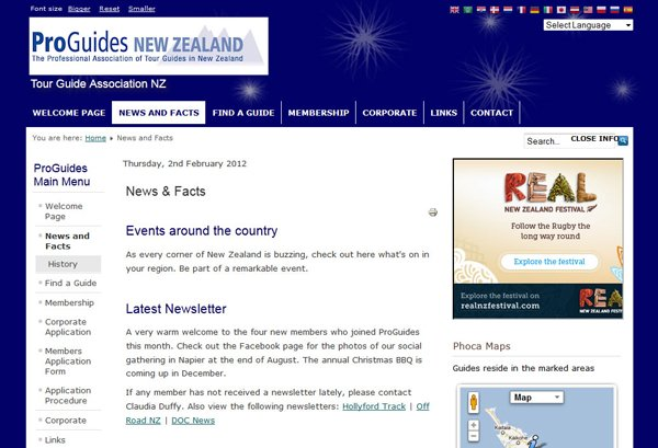 ProGuides New Zealand Facts page providing historical overview and actual news and guide locations;