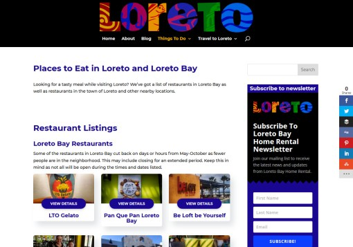 Loreto Bay Mexico Web Site