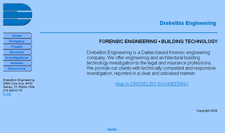 Drebelbis Engineering Home Page Before