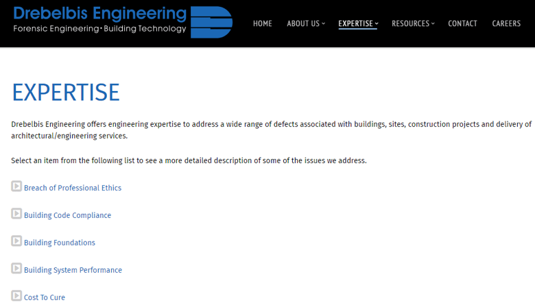 Drebelbis Engineering Services Page After