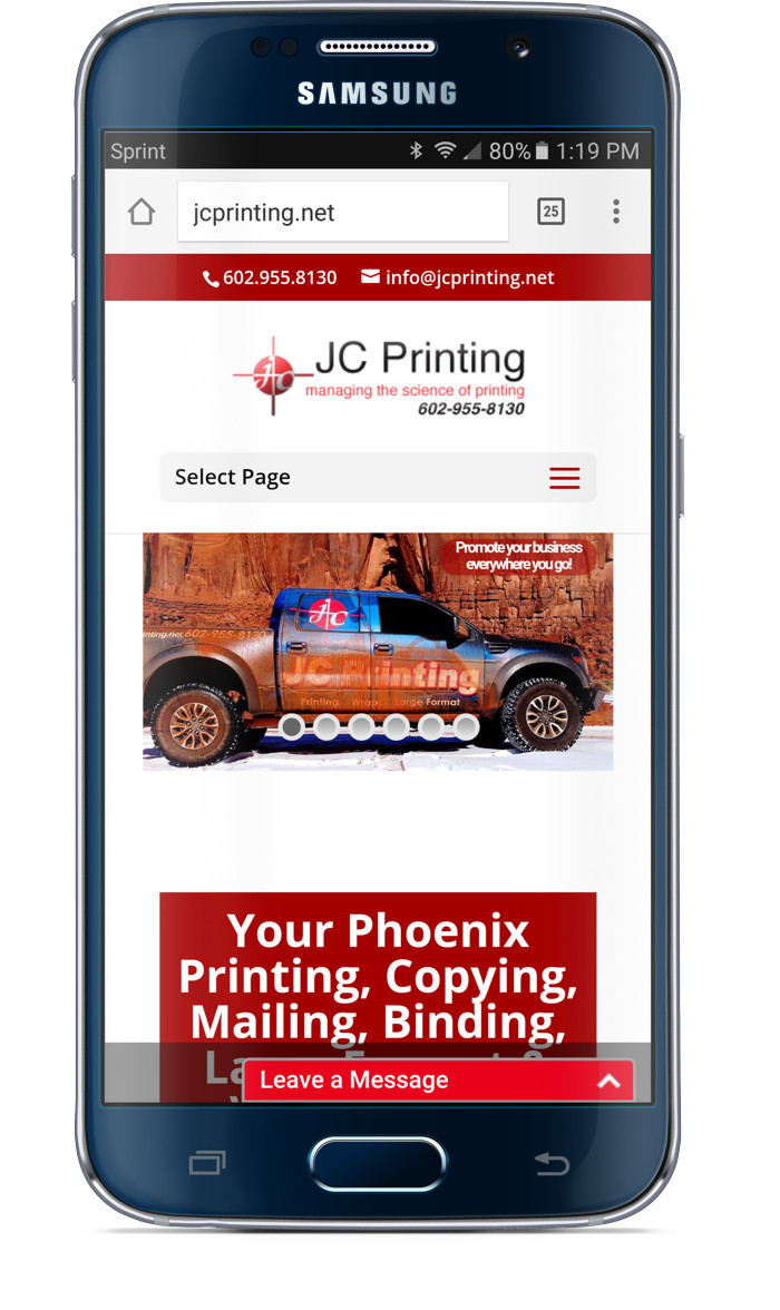 JC Printing Web Site Phone After