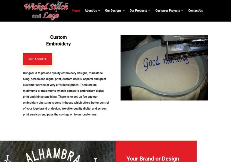 Wicked Stitch and Logo Web Site