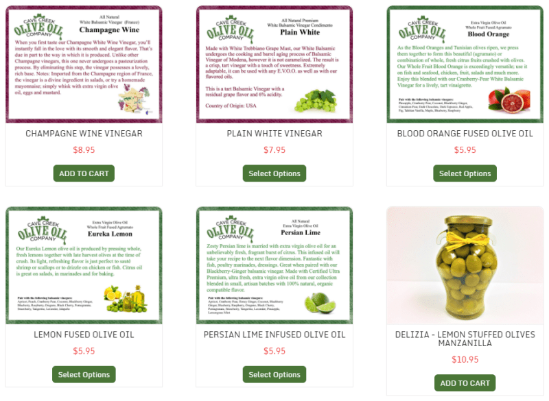Cave Creek Olive Oil Recipe Products