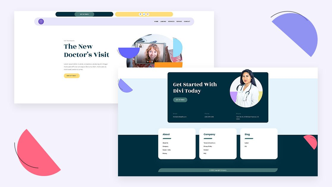 Download a FREE Header & Footer for Divi's Telehealth Layout Pack