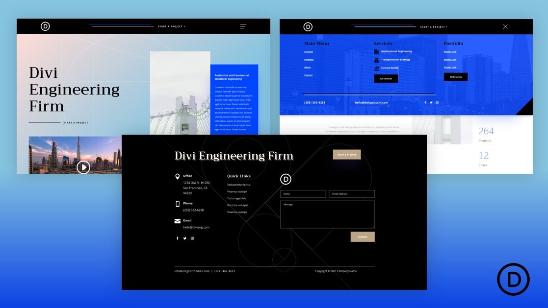 Get a FREE Header and Footer for Divi's Engineering Firm Layout Pack