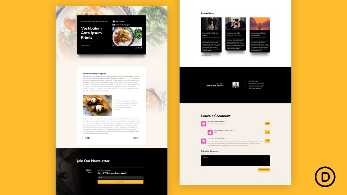 Download a FREE Blog Post Template for Divi's Meal Kit Layout Pack