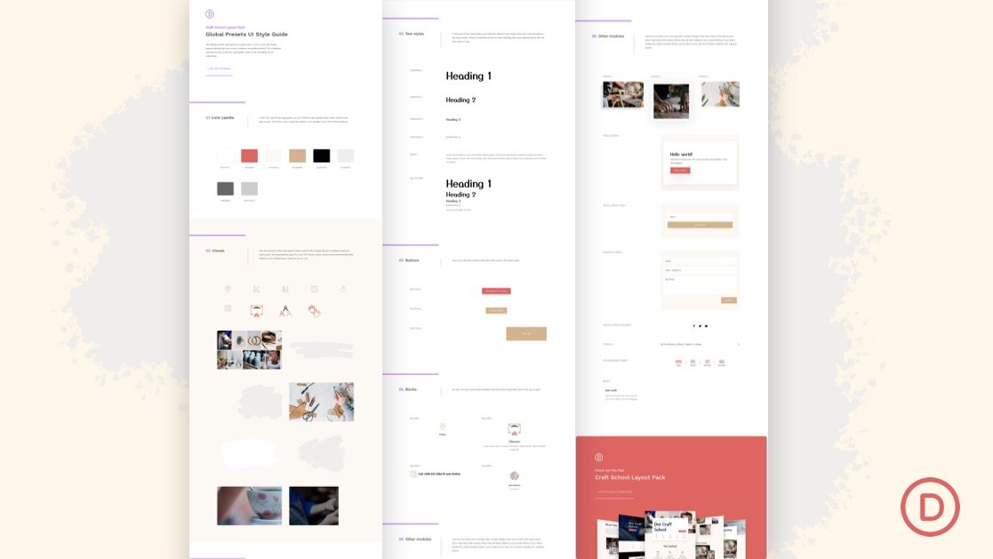Download a FREE Global Presets Style guide for Divi's Craft School Layout Pack